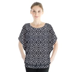 Black And White Tribal Print Blouse