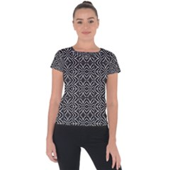 Black And White Tribal Print Short Sleeve Sports Top