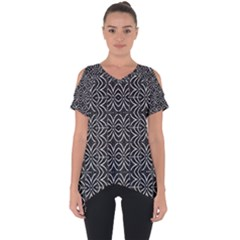 Black And White Tribal Print Cut Out Side Drop Tee