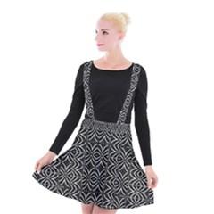 Black And White Tribal Print Suspender Skater Skirt