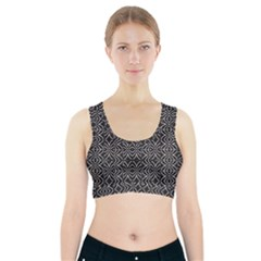 Black And White Tribal Print Sports Bra With Pocket