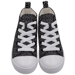 Black And White Tribal Print Kid s Mid Top Canvas Sneakers