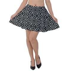 Black And White Tribal Print Velvet Skater Skirt