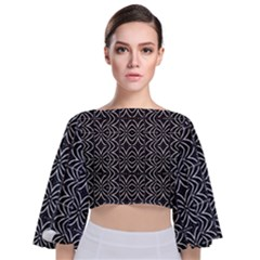 Black And White Tribal Print Tie Back Butterfly Sleeve Chiffon Top