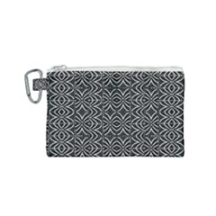 Black And White Tribal Print Canvas Cosmetic Bag (small)