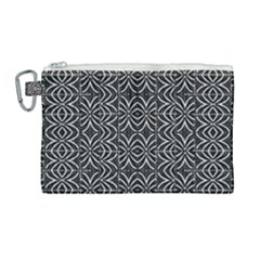 Black And White Tribal Print Canvas Cosmetic Bag (large)