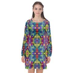 Artwork By Patrick Pattern 23 Long Sleeve Chiffon Shift Dress