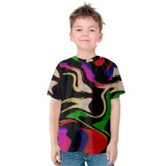 Hot Abstraction With Lines 1 Kids  Cotton Tee