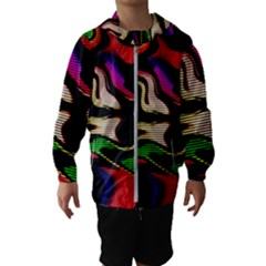 Hot Abstraction With Lines 1 Hooded Wind Breaker (kids)