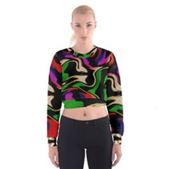 Hot Abstraction With Lines 1 Cropped Sweatshirt