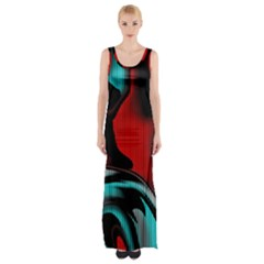 Hot Abstraction With Lines 3 Maxi Thigh Split Dress