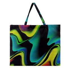 Hot Abstraction With Lines 4 Zipper Large Tote Bag