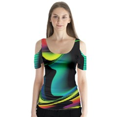 Hot Abstraction With Lines 4 Butterfly Sleeve Cutout Tee