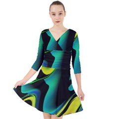 Hot Abstraction With Lines 4 Quarter Sleeve Front Wrap Dress