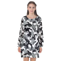 Camouflage02 Long Sleeve Chiffon Shift Dress