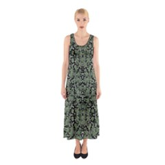 Camouflage Ornate Pattern Sleeveless Maxi Dress