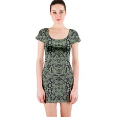 Camouflage Ornate Pattern Short Sleeve Bodycon Dress