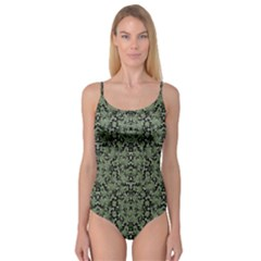 Camouflage Ornate Pattern Camisole Leotard