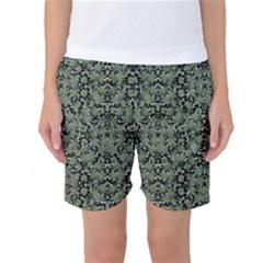 Camouflage Ornate Pattern Women s Basketball Shorts