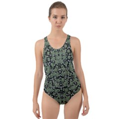 Camouflage Ornate Pattern Cut Out Back One Piece Swimsuit