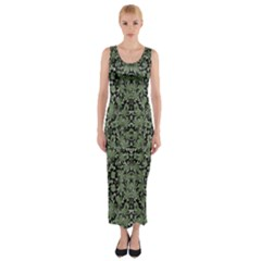 Camouflage Ornate Pattern Fitted Maxi Dress