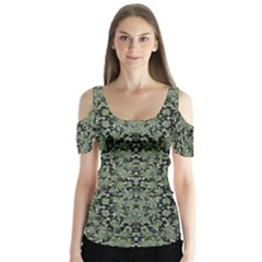 Camouflage Ornate Pattern Butterfly Sleeve Cutout Tee