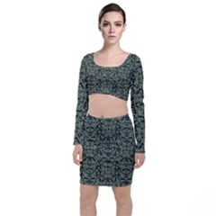 Camouflage Ornate Pattern Long Sleeve Crop Top & Bodycon Skirt Set