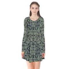 Camouflage Ornate Pattern Flare Dress