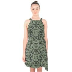 Camouflage Ornate Pattern Halter Collar Waist Tie Chiffon Dress