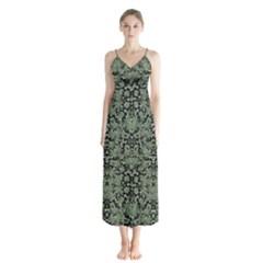 Camouflage Ornate Pattern Button Up Chiffon Maxi Dress