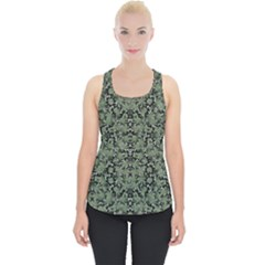 Camouflage Ornate Pattern Piece Up Tank Top