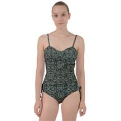 Camouflage Ornate Pattern Sweetheart Tankini Set