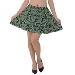Camouflage Ornate Pattern Velvet Skater Skirt