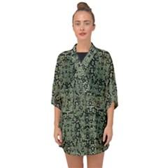 Camouflage Ornate Pattern Half Sleeve Chiffon Kimono