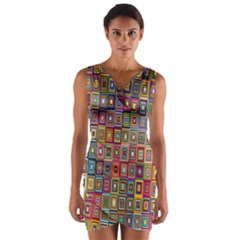 Artwork By Patrick Pattern 33 Wrap Front Bodycon Dress