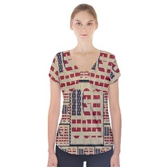Usa Short Sleeve Front Detail Top