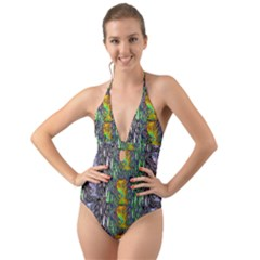 May Be A Woman In Manga Fire Halter Cut Out One Piece Swimsuit