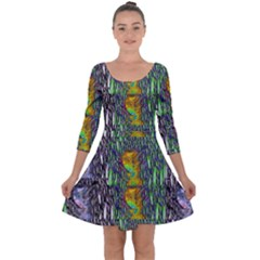 May Be A Woman In Manga Fire Quarter Sleeve Skater Dress