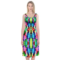 Artwork By Patrick  Colorful 1 Midi Sleeveless Dress