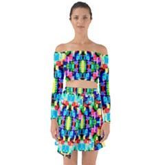 Artwork By Patrick  Colorful 1 Off Shoulder Top With Skirt Set