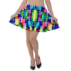 Artwork By Patrick  Colorful 1 Velvet Skater Skirt