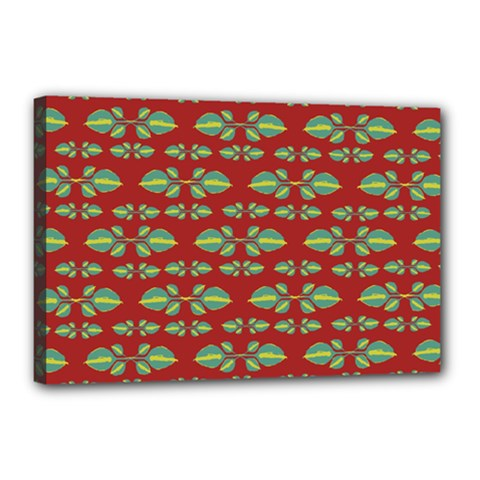 Tropical Stylized Floral Pattern Canvas 18  X 12