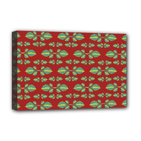 Tropical Stylized Floral Pattern Deluxe Canvas 18  X 12