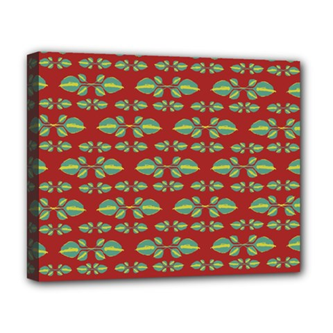 Tropical Stylized Floral Pattern Deluxe Canvas 20  X 16