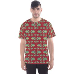 Tropical Stylized Floral Pattern Men s Sports Mesh Tee