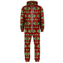 Tropical Stylized Floral Pattern Hooded Jumpsuit (men)