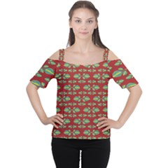 Tropical Stylized Floral Pattern Cutout Shoulder Tee