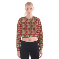 Tropical Stylized Floral Pattern Cropped Sweatshirt