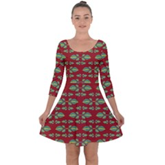 Tropical Stylized Floral Pattern Quarter Sleeve Skater Dress