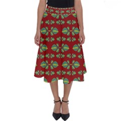 Tropical Stylized Floral Pattern Perfect Length Midi Skirt